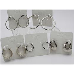 (5) PAIRS OF STERLING SILVER HOOP EARRINGS (5) PAIRS OF STERLING SILVER HOOP EARRINGS. VARIOUS LENGT