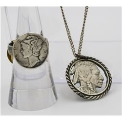 MERCURY DIME RING AND BUFFALO NICKEL NECKLACE 1944 MERCURY SILVER DIME RING AND 1936 BUFFALO NICKEL