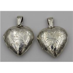 (2) STERLING SILVER HEART LOCKETS (2) STERLING SILVER HEART LOCKETS. BEAUTIFUL ETCHED DETAILING. PRE