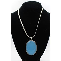 BLUE PENDANT ON .925 CHAIN LARGE AND BOLD