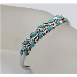 BEAUTIFUL STERLING SILVER BANGLE WITH TURQUOISE DETAILING