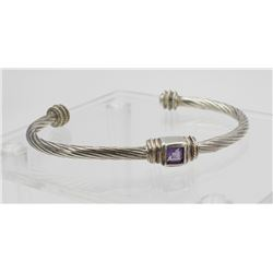 STERLING SILVER CUFF BRACELET WITH AMETHYST STONE STERLING SILVER CUFF BRACELET WITH AMETHYST STONE.