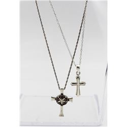 "(2) STERLING SILVER CROSS NECKLACES (2) STERLING SILVER CROSS NECKLACE. ONE IS 16.5"" LONG AND THE OT"