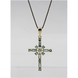 STERLING SILVER AND AQUAMARINE CROSS NECKLACE BEAUTIFUL STERLING SILVER AND AQUAMARINE CROSS NECKLAC