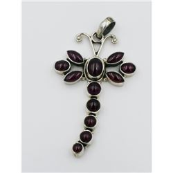STERLING SILVER DRAGONFLY PENDANT W/ PURPLE STONES LARGE STERLING SILVER DRAGONFLY PENDANT WITH PURP