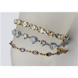 "3 BEAUITFUL STERLING BRACELETS 3 BEAUTIFUL STERLING BRACELETS - ONE GOLD TONED WITH AMETHYST 7.5"" LO"