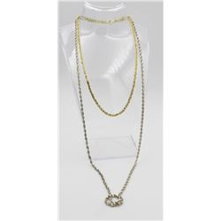 "TWO GORGEOUS STERLING NECKLACES TWO GORGEOUS STERLING SILVER NECKLACES - ONE GOLD TONED 16"" LONG AND"