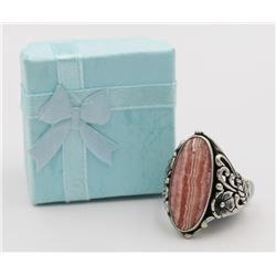 BEAUITFUL PALE PINK AGATE STERLING SILVER RING BEAUITFUL PALE PINK AGATE STERLING SILVER RING. AZTEC