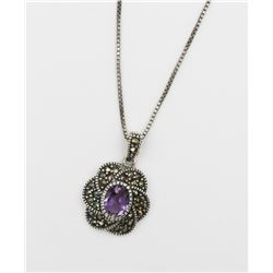.925 THAILAND PENDANT W/ AMETHYST & GUN METAL STERLING SILVER PENDANT WITH AMETHYST AND GUN METAL CO