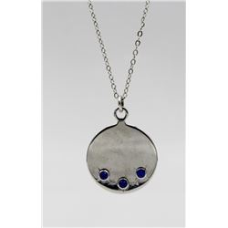 "STERLING SILVER PENDANT WITH SAPPHIRE STONES STERLING SILVER PENDANT WITH SAPPHIRE STONES ON A 15"" C"