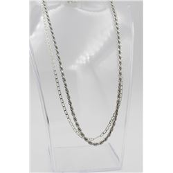 "TWO 18"" STERLING SILVER CHAINS TWO 18"" STERLING SILVER CHAINS. DIFFERENT CHAIN LINK PATTERNS. 20.5 G"