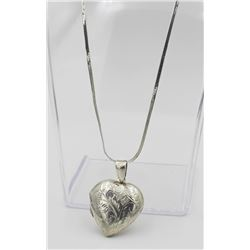 "STERLING SILVER HEART LOCKET STERLING SILVER HEART LOCKET ON AN 18"" CHAIN. BEAUTIFUL DETAILED ETCHIN"