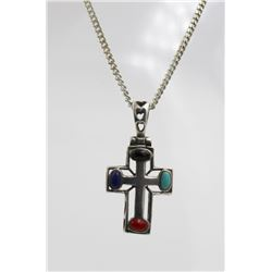 ".925 ""THAILAND"" CROSS WITH MULTI-COLORED STONES STERLING SILVER CROSS WITH MULTI-COLORED STONES. STA"