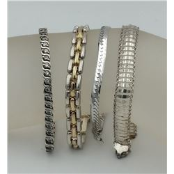 ASSORTMENT OF STERLING SILVER BRACELETS ASSORTMENT OF STERLING SILVER BRACELETS. 4 BRACELETS TOTAL.