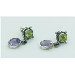 STERLING SILVER EARRINGS WITH PERIDOT & AMETHYST STUNNING STELRING SILVER EARRINGS WITH PERIDOT AND