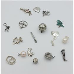 LARGE GROUP OF CHARMS - TOTAL OF 18 CHARMS!!!! LARGE GROUP OF CHARMS - INCLUDE BASKETBALL, PEARLS, G