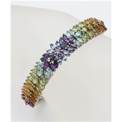 RAINBOW STONE HINGED CUFF BRACELET BEAUTIFUL HINGED CUFF BRACELET WITH RAINBOW RHINESTONES! STUNNING