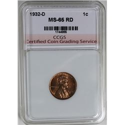 1932-D LINCOLN CENT CCGS GEM BU RED 1932-D LINCOLN CENT CCGS GEM BU REDESTIMATE: $125-$150