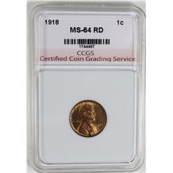 1918 LINCOLN CENT CCGS GEM BU RD 1916 LINCOLN CENT CCGS GEM BU RED ESTIMATE: $125-$150