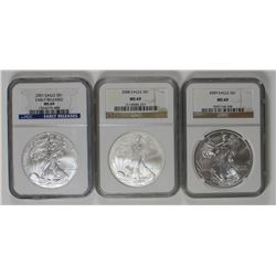 NGC MS 69 GRADED AMERICAN SILVER EAGLES NGC MS69 GRADED AMERICAN SILVER EAGLES - 2007, 2008 AND 2009