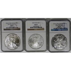NGC MS69 AMERICAN SILVER EAGLES NGC MS69 AMERICAN SILVER EAGLES - 2010, 2011-S AND 2011. ESTIMATE: $