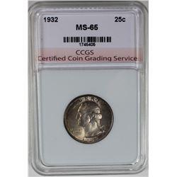 1932 WASHINGTON QUARTER CCGS GEM BU+