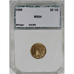 1908 $2.50 GOLD INDIAN HEAD PCI GEM BU SCARCE!