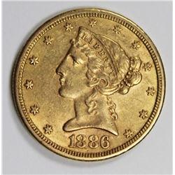 1886-S $5 GOLD LIBERTY AU 1886-S $5 GOLD LIBERTY AU. ESTIMATE: $400-$500