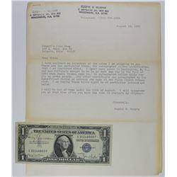 1935-D $1 SILVER CERT AUTOGRAPHED BY HARRY TRUMAN 1935-D $1 SILVER CERTIFICATE AUTOGRAPHED BY HARRY
