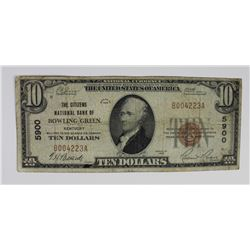 1929 $10 NATIONAL BOWLING GREEN, KY 1929 $10 NATIONAL BOWLING GREEN, KY CIRCULATED. ESTIMATE: $75-$1