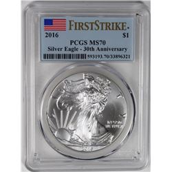 2016 AMERICAN SILVER EAGLE PCGS MS70 FIRST STRIKE 2016 AMERICAN SILVER EAGLE PCGS MS70 FIRST STRIKE.