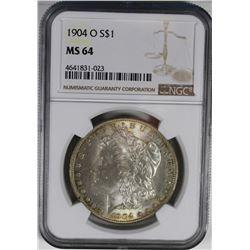 1904-O MORGAN SILVER DOLLAR NGC MS64 1904-O MORGAN SILVER DOLLAR NGC MS64, ESTIMATE: $85-$100