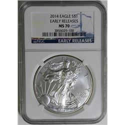 2014 AMERICAN SILVER EAGLE NGC MS70 EARLY RELEASE 2014 AMERICAN SILVER EAGLE NGC MS70 EARLY RELEASE.