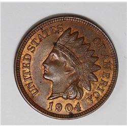 1904 INDIAN CENT GEM BU RED+ BROWN 1904 INDIAN CENT GEM BU RED+ BROWN. ESTIMATE: $125-$150