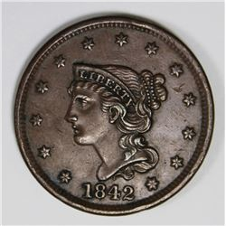 1842 LARGE CENT AU/UNC BROWN 1842 LARGE CENT AU/UNC BROWN