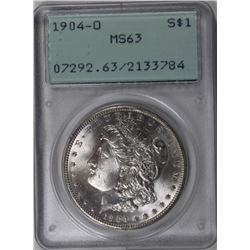 1904 -O MORGAN SILVER DOLLAR PCGS MS63 RATTLER 1904-O MORGAN SILVER DOLLAR PCGS MS63 RATTLER. ESTIMA
