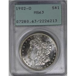 1902-O MORGAN SILVER DOLLAR PCGS MS 63 RATTLER 1902-O MORGAN SILVER DOLLAR PCGS MS 63. RATTLER HOLDE