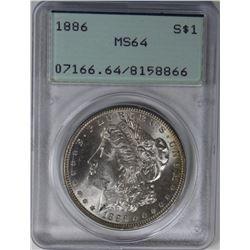 1886 MORGAN SILVER DOLLAR PCGS MS64 RATTLER 1886 MORGAN SILVER DOLLAR PCGS MS64 RATTLER. ESTIMATE: $
