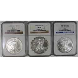 3 NGC MS 69 AMERICAN SILVER EAGLES 3 NGC MS 60 AMERICAN SILVER EAGLES - 2004, 2005 AND 2006. ESTIMAT