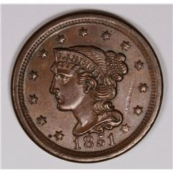 1851 LARGE CENT BEAUTIFUL COLOR BROWN UNC. 1851 LARGE CENT BEAUTIFUL COLOR BROWN UNC. ESTIMATE: $275