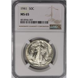 1941 WALKING LIBERTY HALF DOLLAR NGC MS 65 1941 WALKING LIBERTY HALF DOLLAR NGC MS 65. GEM WHITE. TH