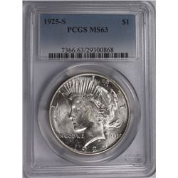 1925-S PEACE DOLLAR PCGS MS63 SNOW WHITE! 1925-S PEACE DOLLAR PCGS MS63 SNOW WHITE! ESIMATE: $325-$4
