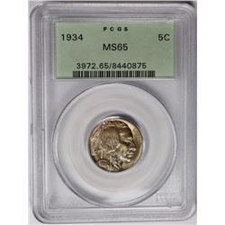 1934 BUFFALO NICKEL PCGS MS65 1934 BUFFALO NICKEL PCGS MS65. GREEN LABEL. THIS COIN HAS TO BE MS 66.