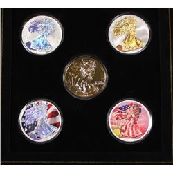 COLORIZED 2006 AMERICAN SILVER EAGLE SET BEAUITFUL COLORIZED 2006 AMERICAN SILVER EAGLE 5 PIECE SET