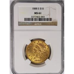 1888-S $10 GOLD LIBERTY NGC MS 61 SCARCE 1888-S $10 GOLD LIBERTY NGC MS 61 SCARCE. ESTIMATE: $775-$9
