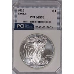 2015 AMERICAN SILVER EAGLE PCI GRADED PERFECT GEM 2015 AMERICAN SILVER EAGLE PCI GRADED PERFECT GEM.