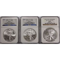 NGC MS69 AMERICAN SILVER EAGLES (09, 10, 11) NGC AMERICAN SILVER EAGLES GRADED MS 69 - 2009, 2010 AN
