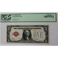 1928 FR 1500 $1 LEGAL TENDER RED SEAL PCGS 66 PPQ 1928 FR 1500 $1.00 LEGAL TENDER RED SEAL PCGS 66 P