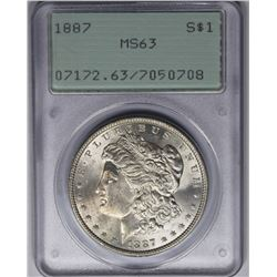 1887 MORGAN SILVER DOLLAR PCGS MS64 RATTLER HOLDER 1887 MORGAN SILVER DOLLAR PCGS MS63 RATTLER HOLDE