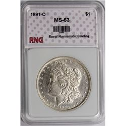 1891-O MORGAN SILVER DOLLAR CH BU RNG GRADED 1891-O MORGAN SILVER DOLLAR CH BU RNG GRADED. ESTIMATE: